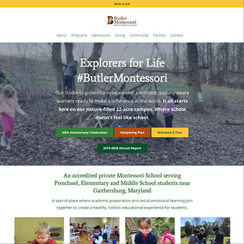 Butler Montessori Website Homepage